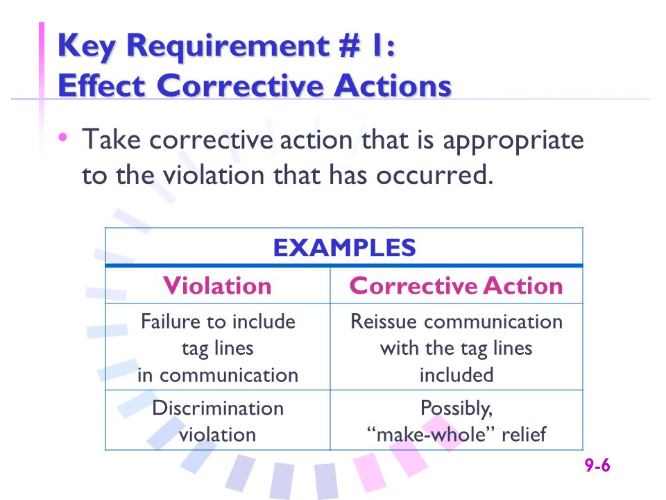 9-6 Key Requirement # 1: Effect Corrective Actions Take corrective action that is appropriate to the violation that has occurred.