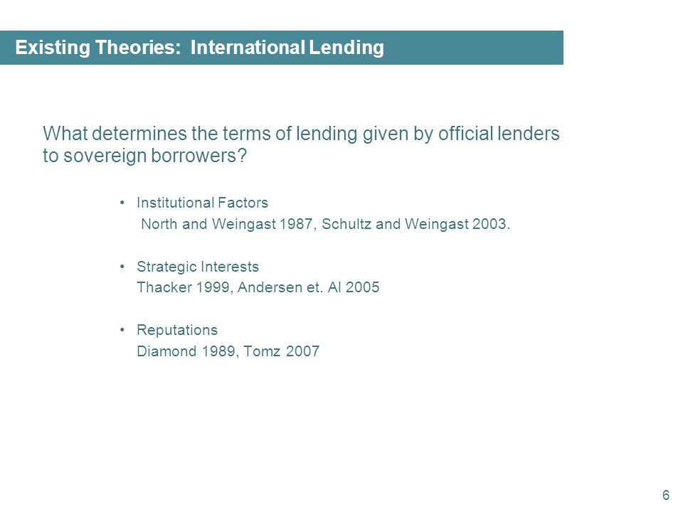 6 Existing Theories: International Lending What determines the terms of lending given by official lenders to sovereign borrowers.