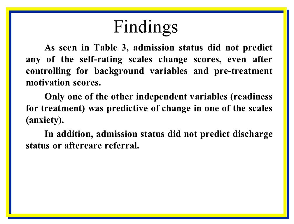 Findings As seen in Table 3, admission status did not predict any of the self-rating scales change scores, even after controlling for background varia