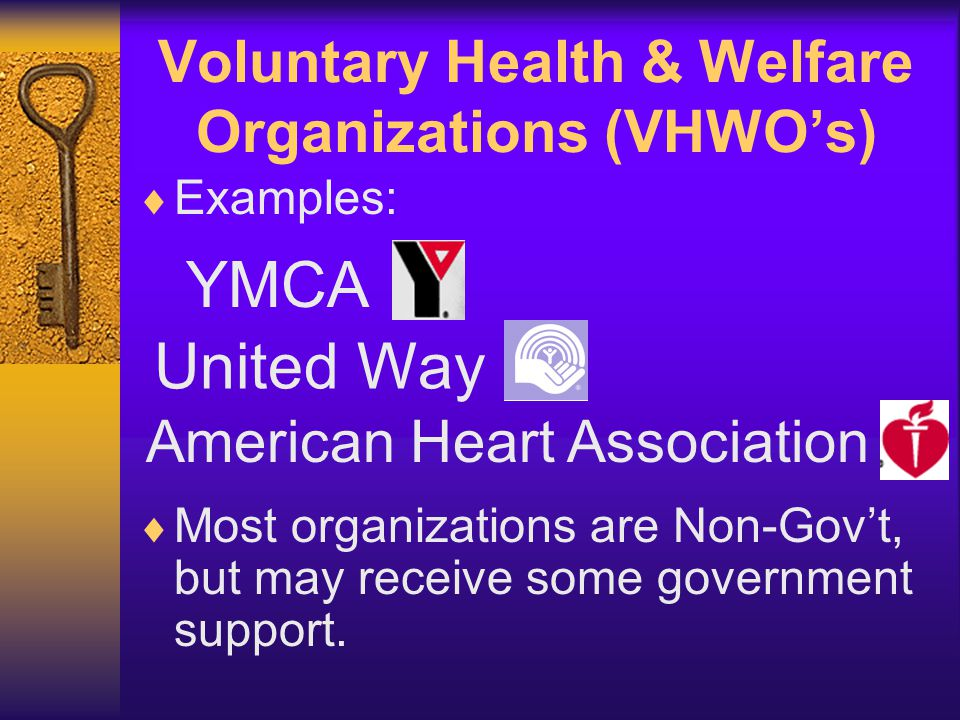 Voluntary Health & Welfare Organizations (VHWO's)  Examples: YMCA United Way American Heart Association  Most organizations are Non-Gov't, but may r