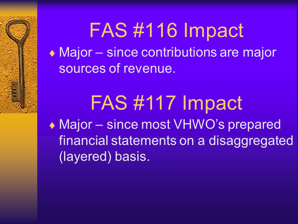 FAS #116 Impact  Major – since contributions are major sources of revenue. FAS #117 Impact  Major – since most VHWO's prepared financial statements