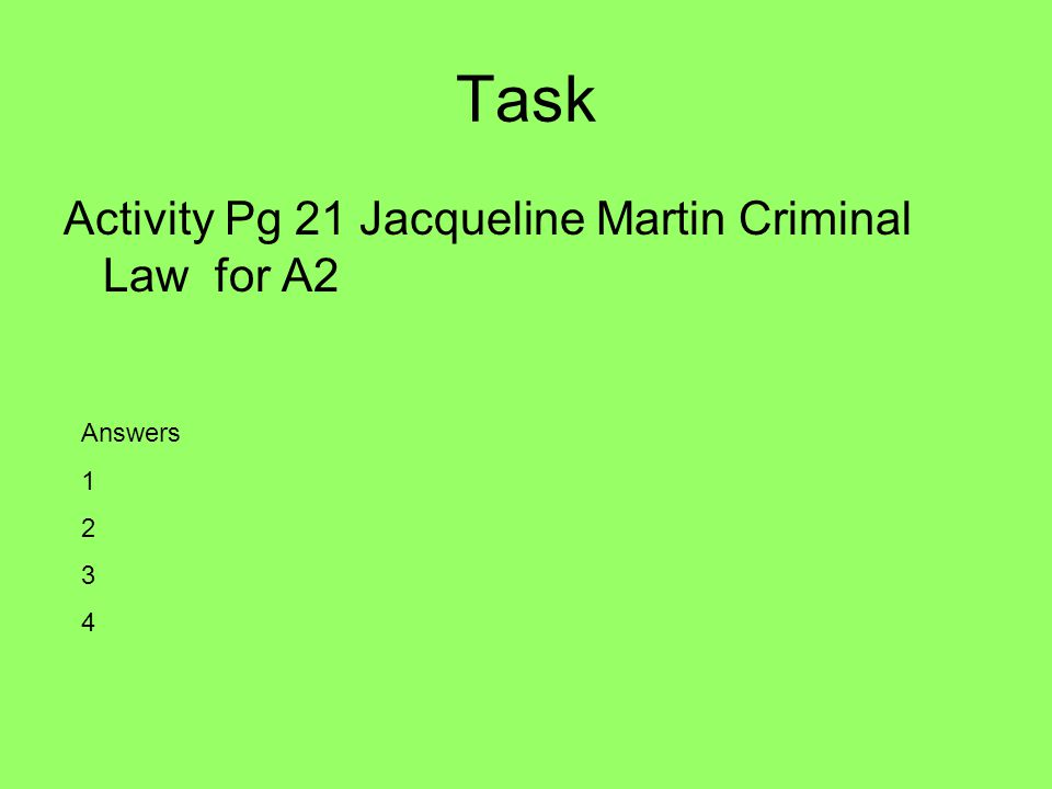 Task Activity Pg 21 Jacqueline Martin Criminal Law for A2 Answers 1 2 3 4