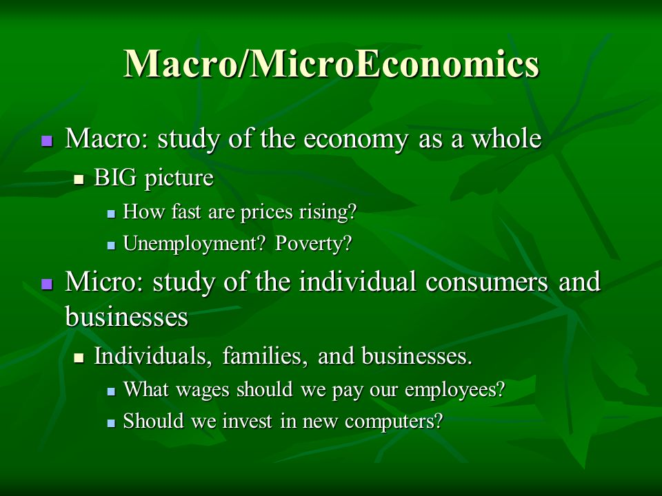 Macro/MicroEconomics Macro: study of the economy as a whole Macro: study of the economy as a whole BIG picture BIG picture How fast are prices rising?