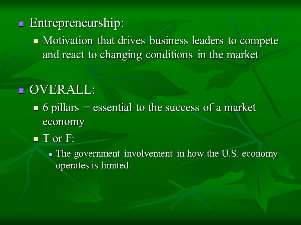 Entrepreneurship: Entrepreneurship: Motivation that drives business leaders to compete and react to changing conditions in the market Motivation that