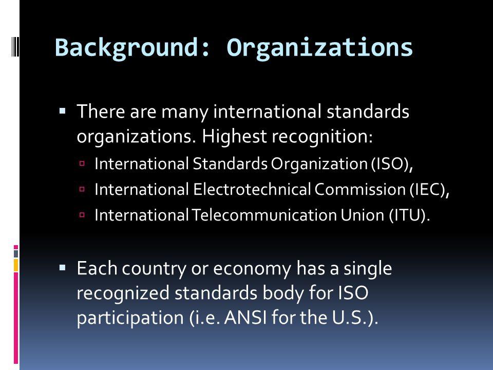 Background: Organizations  There are many international standards organizations.