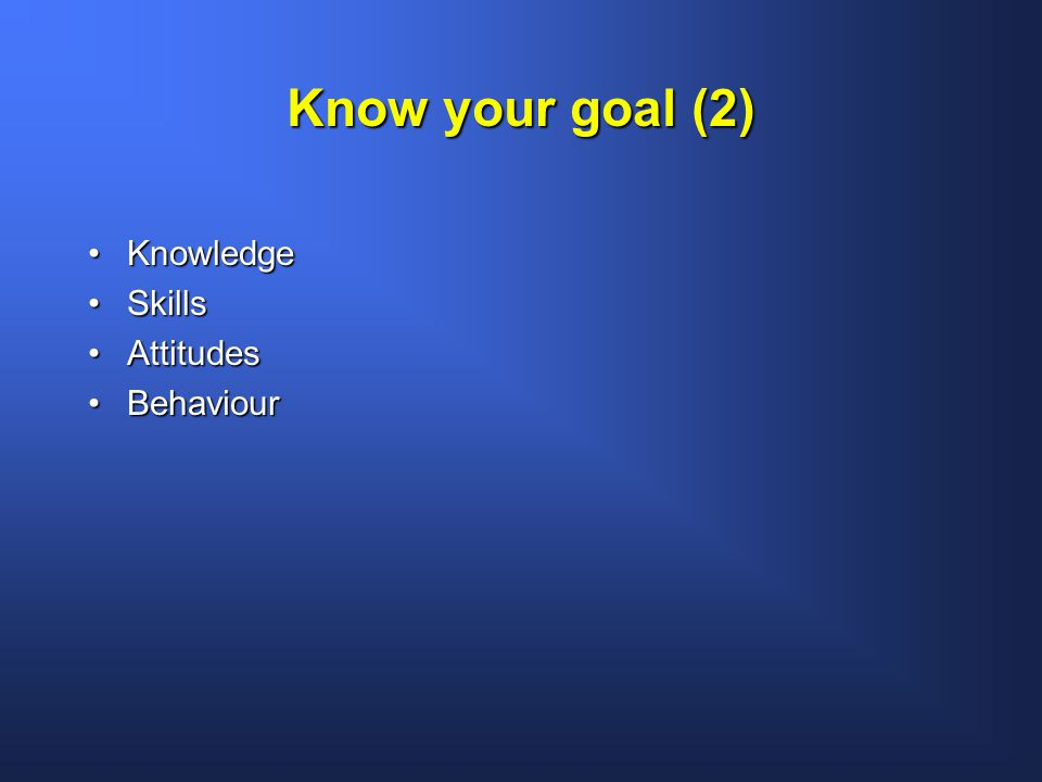 Know your goal (2) KnowledgeKnowledge SkillsSkills AttitudesAttitudes BehaviourBehaviour