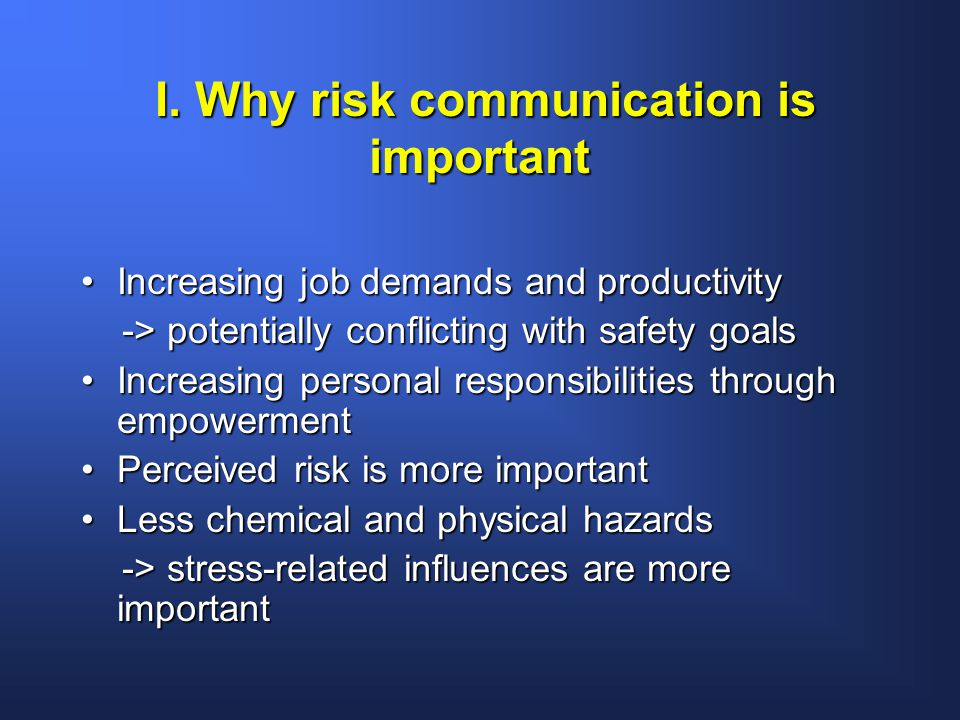 I. Why risk communication is important I.