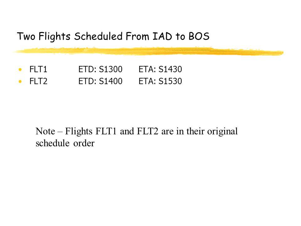 Two Flights Scheduled From IAD to BOS FLT1ETD: S1300ETA: S1430 FLT2ETD: S1400ETA: S1530 Note – Flights FLT1 and FLT2 are in their original schedule order