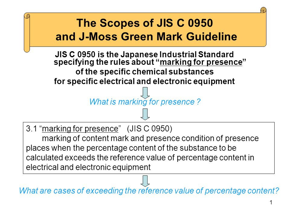 1 JIS C 0950 is the Japanese Industrial Standard specifying the rules about marking for presence of the specific chemical substances for specific electrical and electronic equipment What is marking for presence .