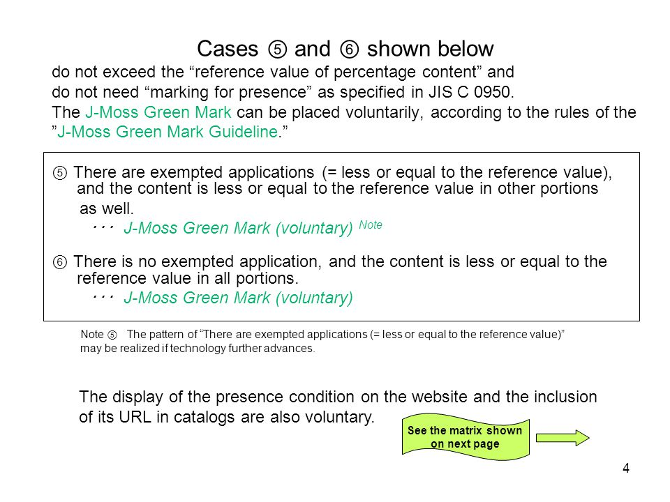 4 Cases ⑤ and ⑥ shown below do not exceed the reference value of percentage content and do not need marking for presence as specified in JIS C 0950.
