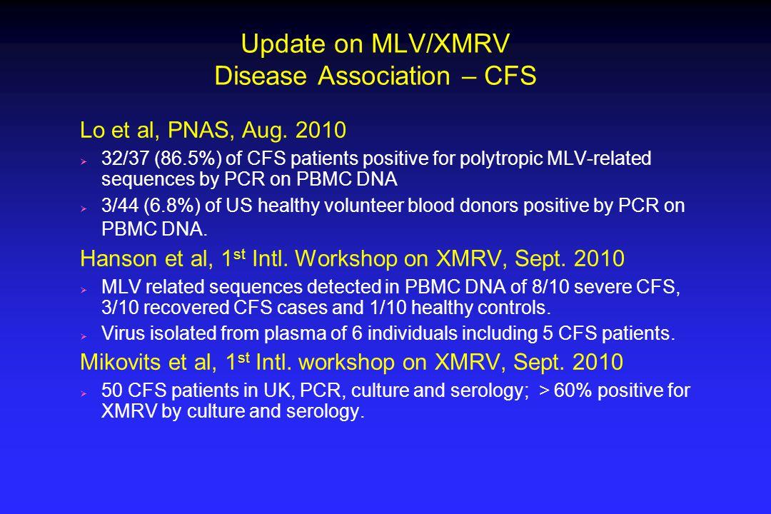 Update on MLV/XMRV Disease Association – CFS Lo et al, PNAS, Aug.
