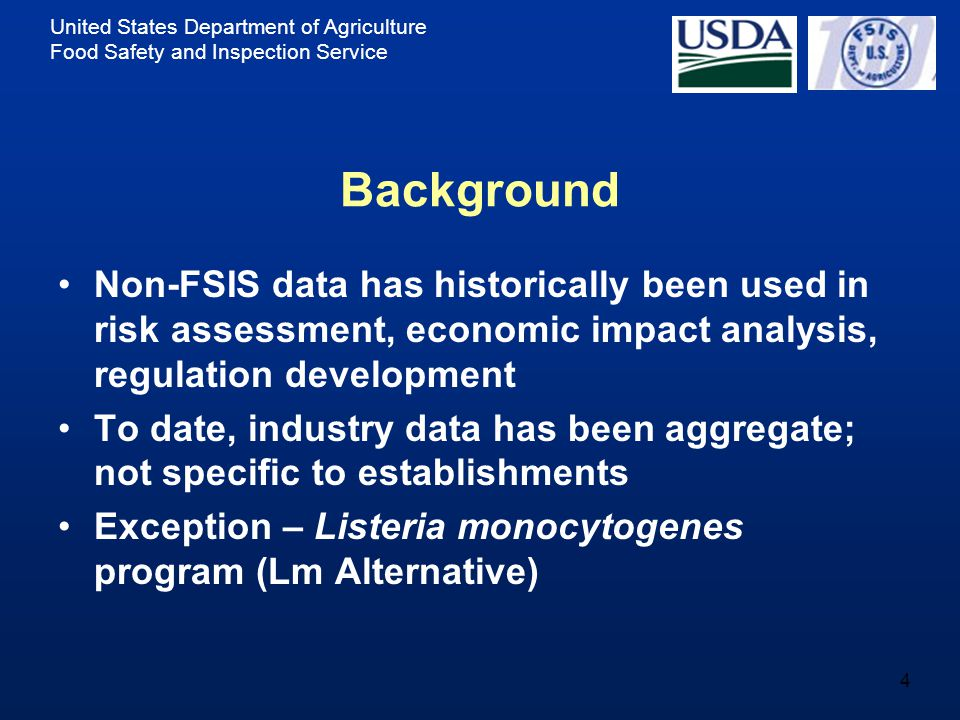 United States Department of Agriculture Food Safety and Inspection Service 5 Industry Data in Lm Alternative Establishments producing post-lethality exposed RTE products report alternatives to reduce Lm (Alternative 1, 2, or 3) Establishments report annual production volumes of RTE products Establishments report volume and other information to FSIS by: –Completing FSIS Form 10,240-1 and fax or mail to FSIS or –Completing electronic version of Form 10,240-1 (fillable pdf) on FSIS website and emailing to Technical Service Center Treated as confidential commercial information