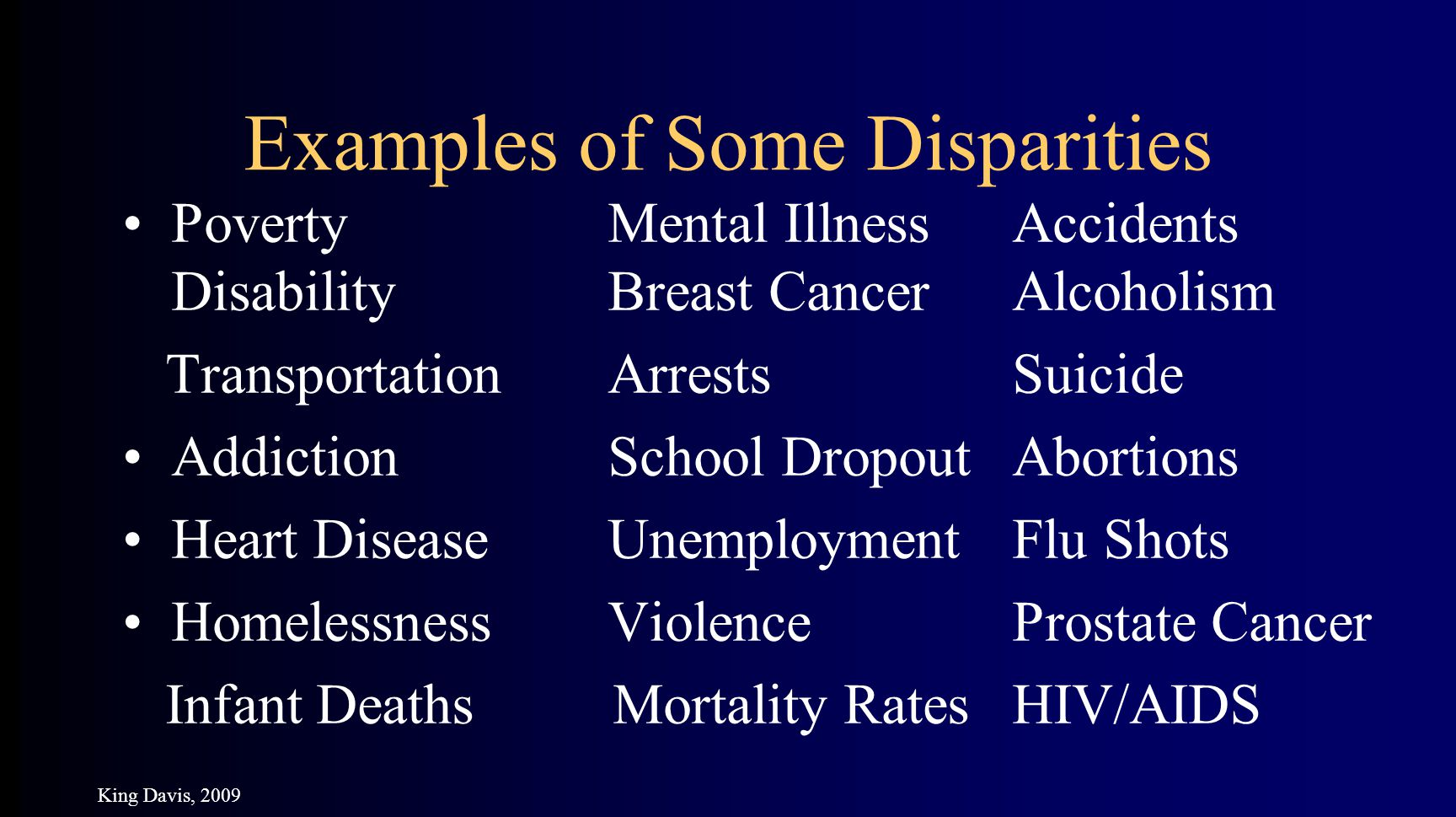 Examples of Some Disparities PovertyMental IllnessAccidents DisabilityBreast CancerAlcoholism TransportationArrestsSuicide AddictionSchool DropoutAbortions Heart DiseaseUnemploymentFlu Shots HomelessnessViolenceProstate Cancer Infant Deaths Mortality RatesHIV/AIDS King Davis, 2009