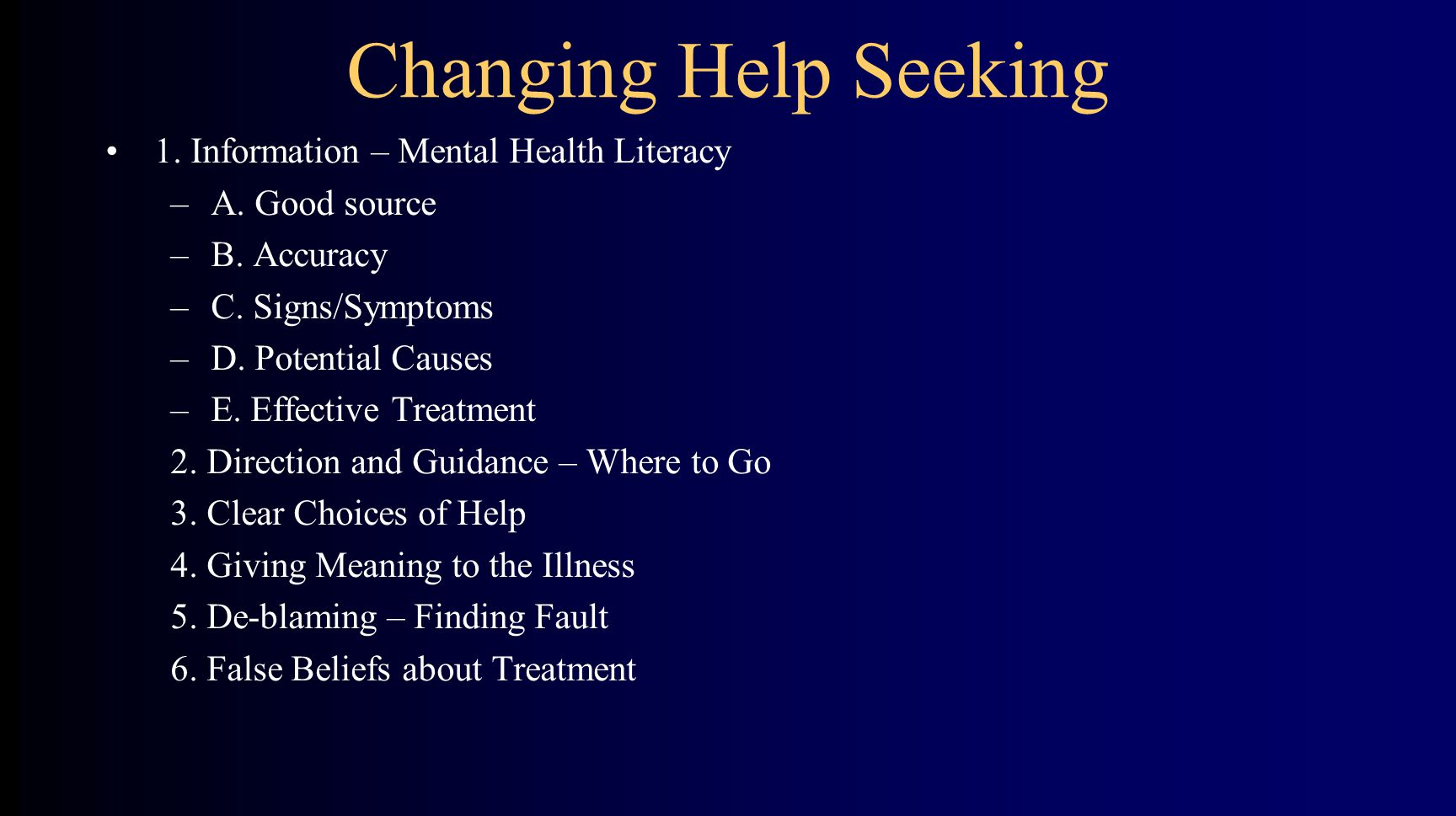 1. Information – Mental Health Literacy –A. Good source –B.