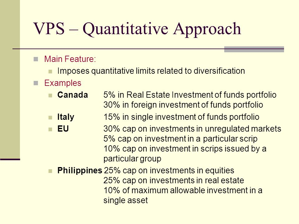 VPS – Quantitative Approach Main Feature: Imposes quantitative limits related to diversification Examples Canada5% in Real Estate Investment of funds portfolio 30% in foreign investment of funds portfolio Italy15% in single investment of funds portfolio EU30% cap on investments in unregulated markets 5% cap on investment in a particular scrip 10% cap on investment in scrips issued by a particular group Philippines 25% cap on investments in equities 25% cap on investments in real estate 10% of maximum allowable investment in a single asset