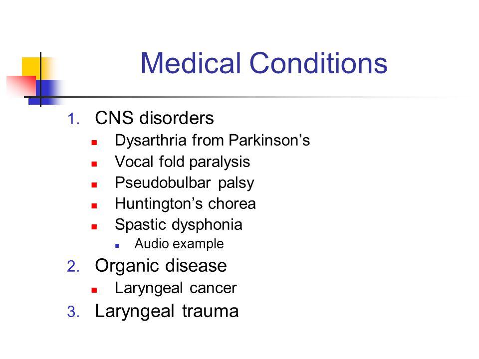 Medical Conditions 1. CNS disorders Dysarthria from Parkinson's Vocal fold paralysis Pseudobulbar palsy Huntington's chorea Spastic dysphonia Audio ex