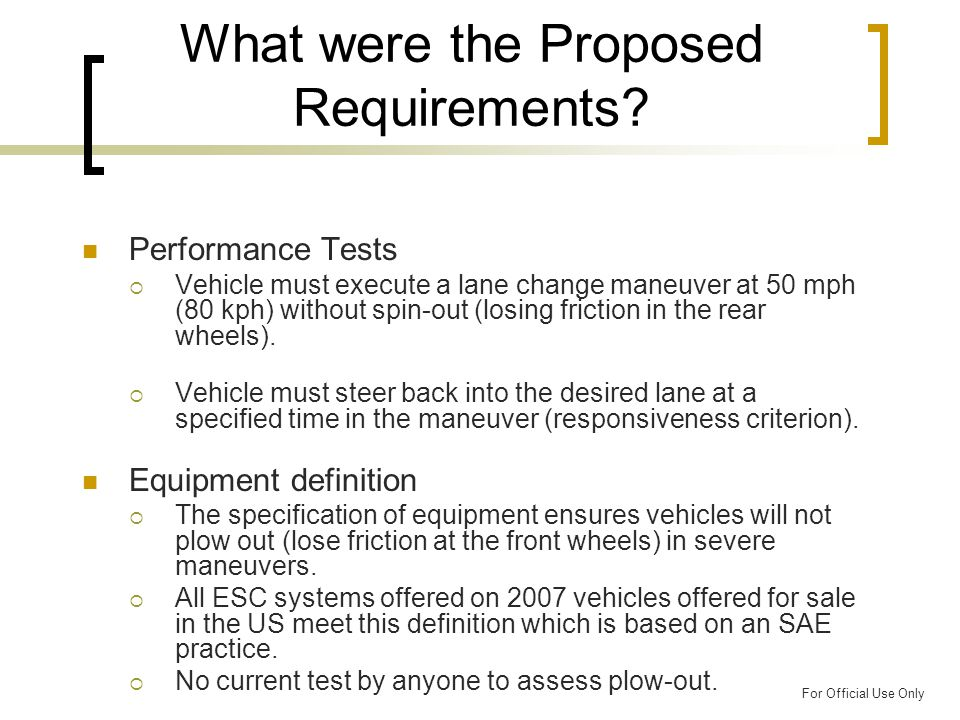 For Official Use Only What were the Proposed Requirements.