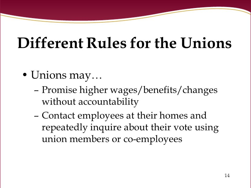 14 Different Rules for the Unions Unions may… –Promise higher wages/benefits/changes without accountability –Contact employees at their homes and repeatedly inquire about their vote using union members or co-employees