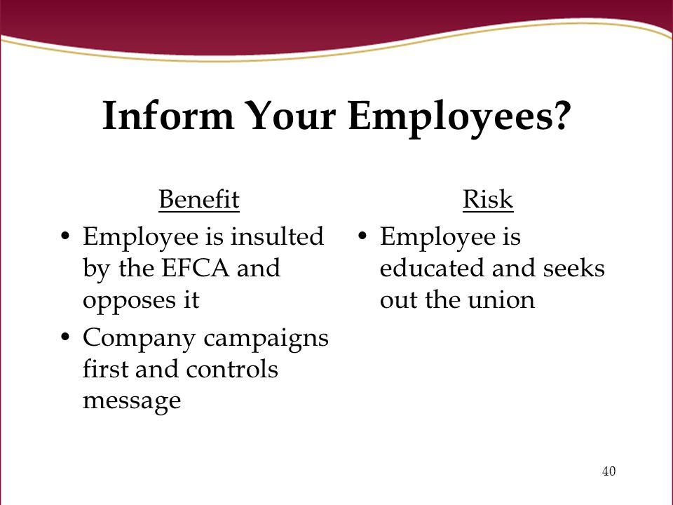 40 Inform Your Employees.