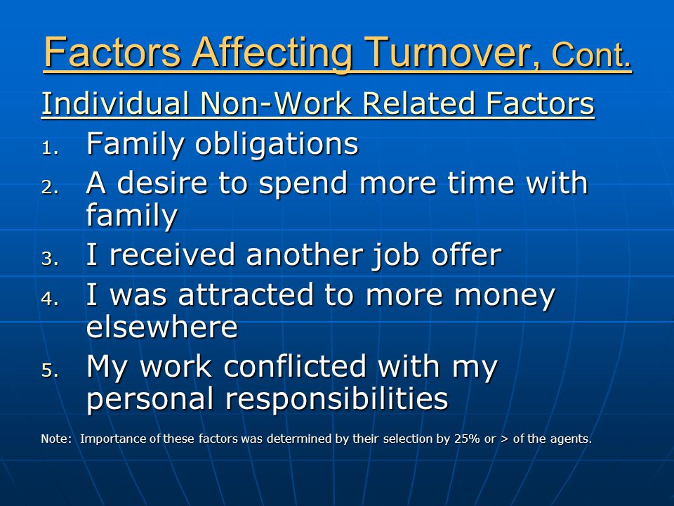 Factors Affecting Turnover, Cont. Individual Non-Work Related Factors 1.