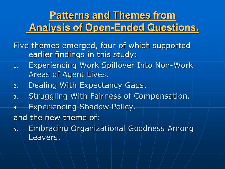 Patterns and Themes from Analysis of Open-Ended Questions.