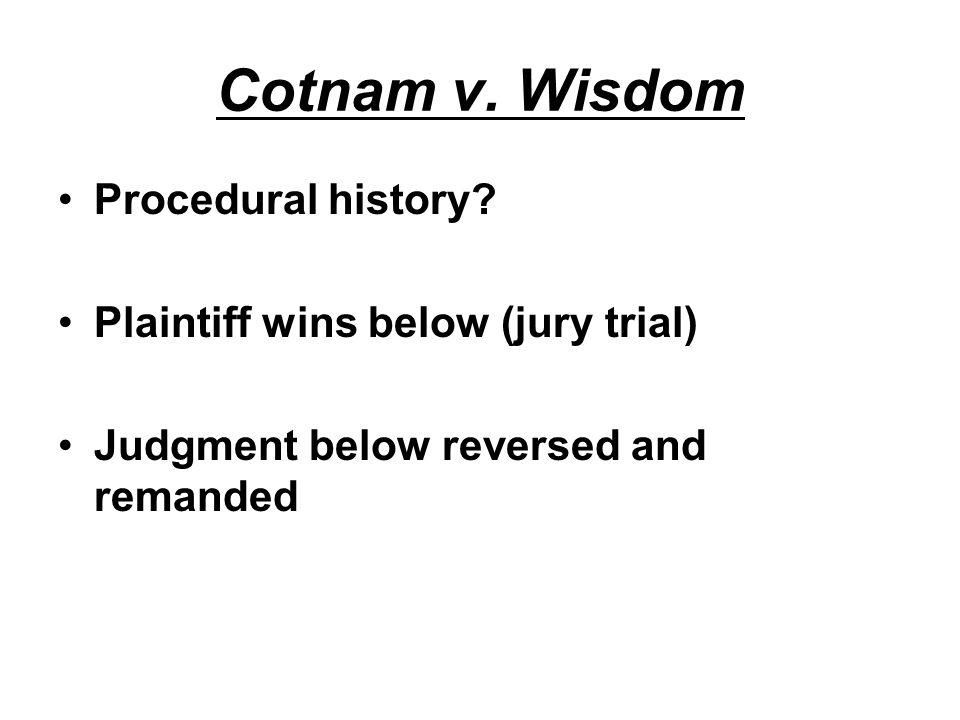 Cotnam v. Wisdom Procedural history.