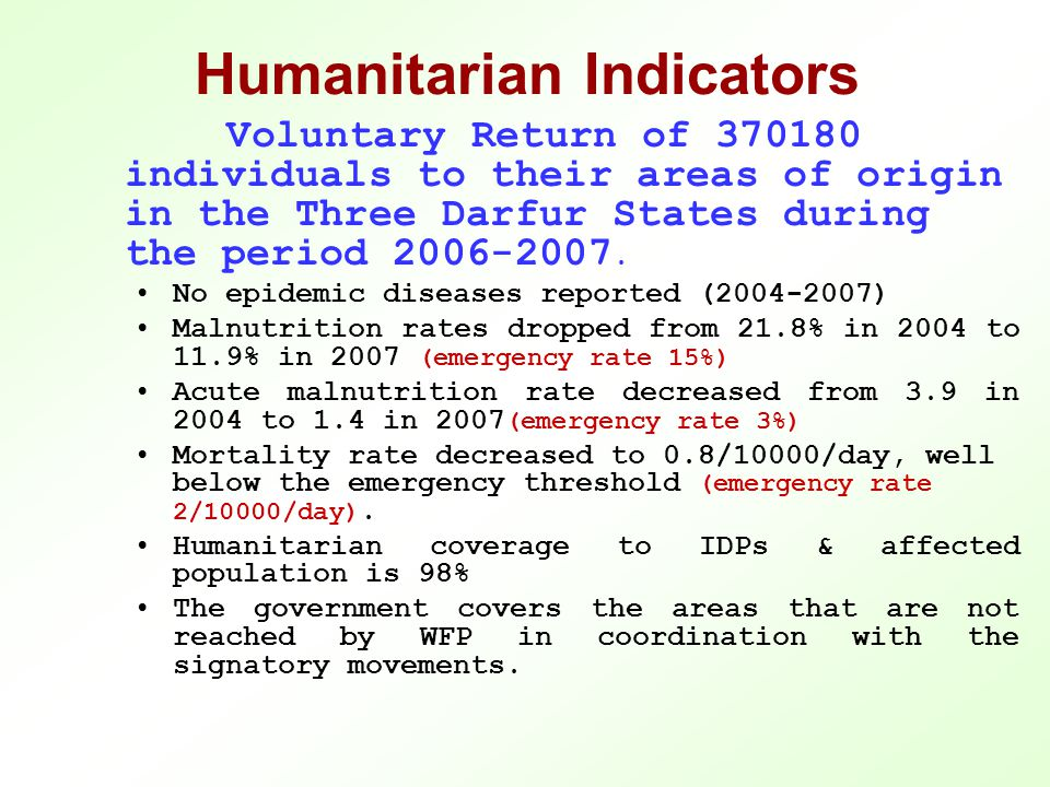 Humanitarian Indicators Voluntary Return of 370180 individuals to their areas of origin in the Three Darfur States during the period 2006-2007.