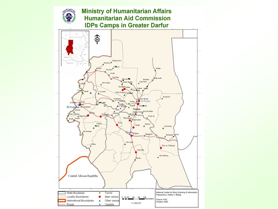 Darfur Demography Person6750000 Population Residents + IDPs 1.729.820 Affected population All IDPs camps are within the Government controlled areas.