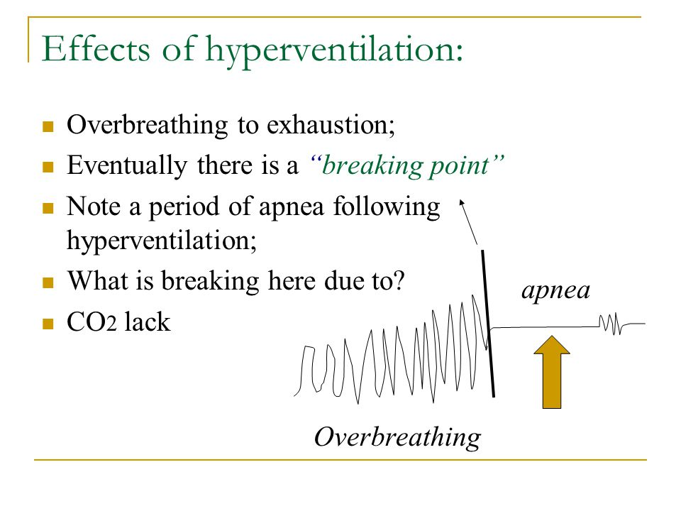 """Effects of hyperventilation: Overbreathing to exhaustion; Eventually there is a """"breaking point"""" Note a period of apnea following hyperventilation; Wh"""