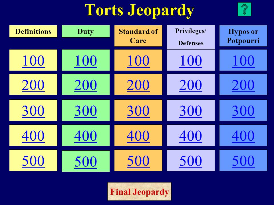 Torts Jeopardy 100 200 300 400 500 100 200 300 400 500 100 200 300 400 500 100 200 300 400 500 100 200 300 400 500 DefinitionsDutyStandard of Care Privileges/ Defenses Hypos or Potpourri Final Jeopardy