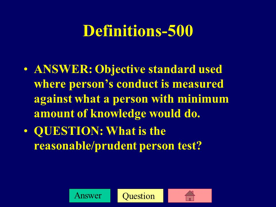Question Answer Standard of Care-500 ANSWER: Standard that requires one to possess and use the degree of skill and learning of the reasonable or ordinary practitioner in the same school/field in the community in which he practices.