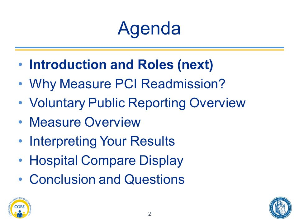 Agenda Introduction and Roles (next) Why Measure PCI Readmission.