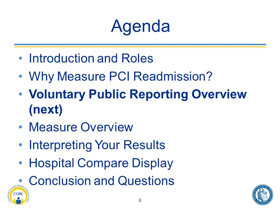 Agenda Introduction and Roles Why Measure PCI Readmission.