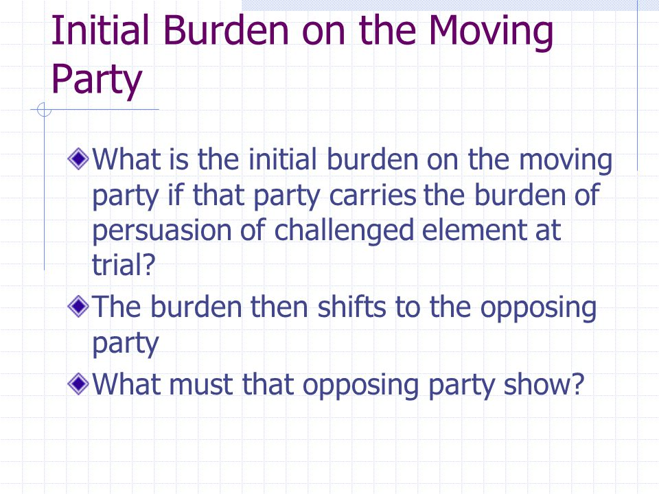 Initial Burden on the Moving Party What is the initial burden on the moving party if that party carries the burden of persuasion of challenged element at trial.