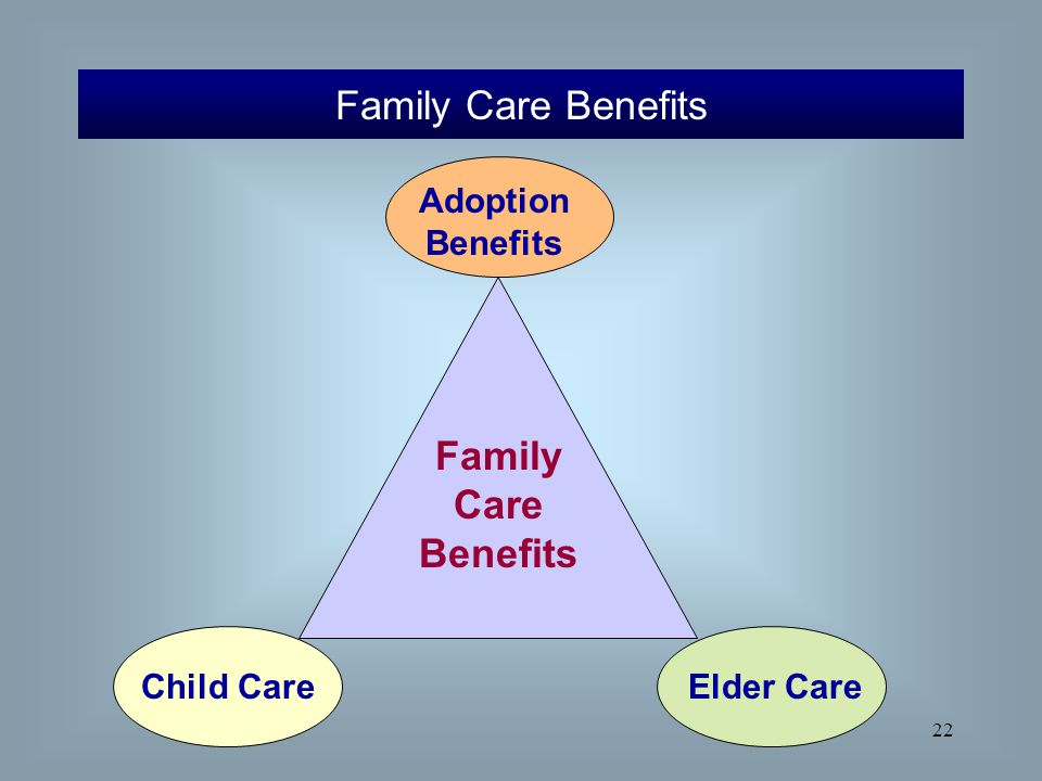 22 Family Care Benefits Family Care Benefits Adoption Benefits Child CareElder Care