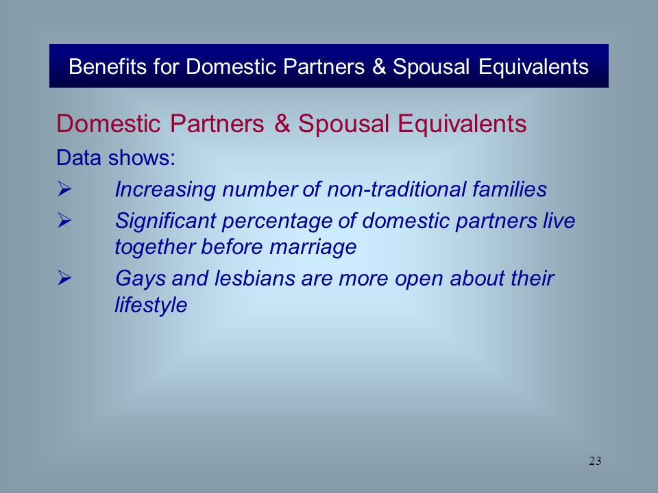 23 Domestic Partners & Spousal Equivalents Data shows:  Increasing number of non-traditional families  Significant percentage of domestic partners l