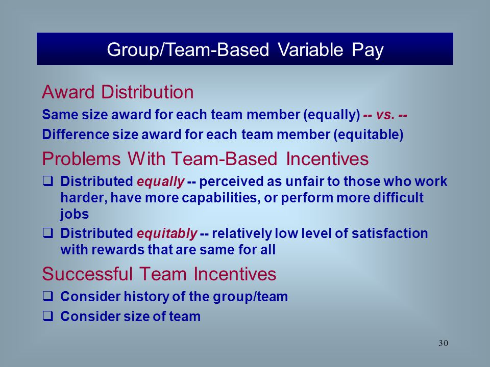 30 Award Distribution Same size award for each team member (equally) -- vs. -- Difference size award for each team member (equitable) Problems With Te