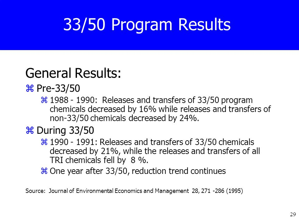 29 33/50 Program Results General Results: zPre-33/50 z1988 - 1990: Releases and transfers of 33/50 program chemicals decreased by 16% while releases and transfers of non-33/50 chemicals decreased by 24%.