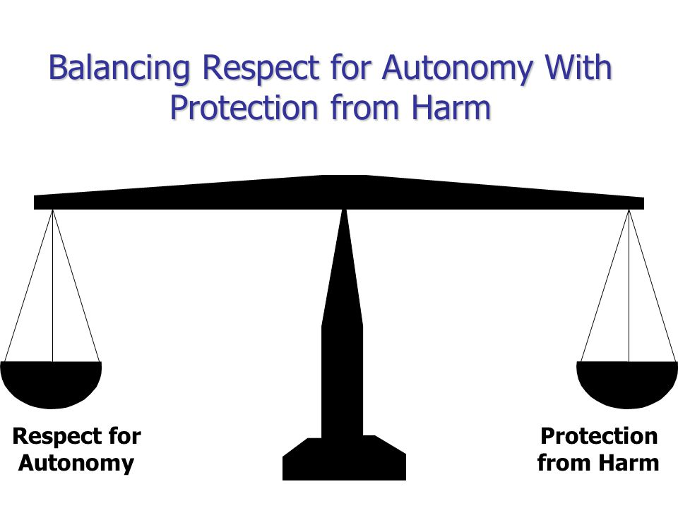 Protection from Harm Respect for Autonomy Balancing Respect for Autonomy With Protection from Harm