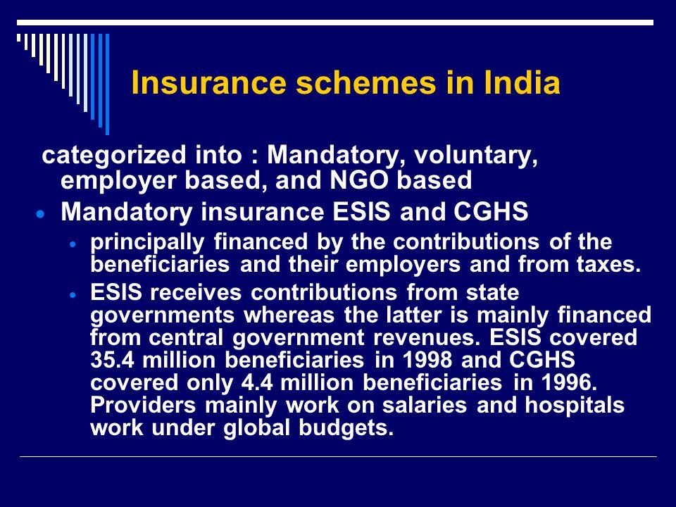Insurance schemes in India categorized into : Mandatory, voluntary, employer based, and NGO based  Mandatory insurance ESIS and CGHS  principally fi