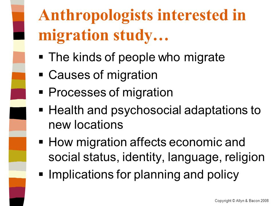 Copyright © Allyn & Bacon 2008 Methods of anthropologists studying migration  Multisited research  Fieldwork in more than one location in order to understand life in the place of origin as well as the migration destination
