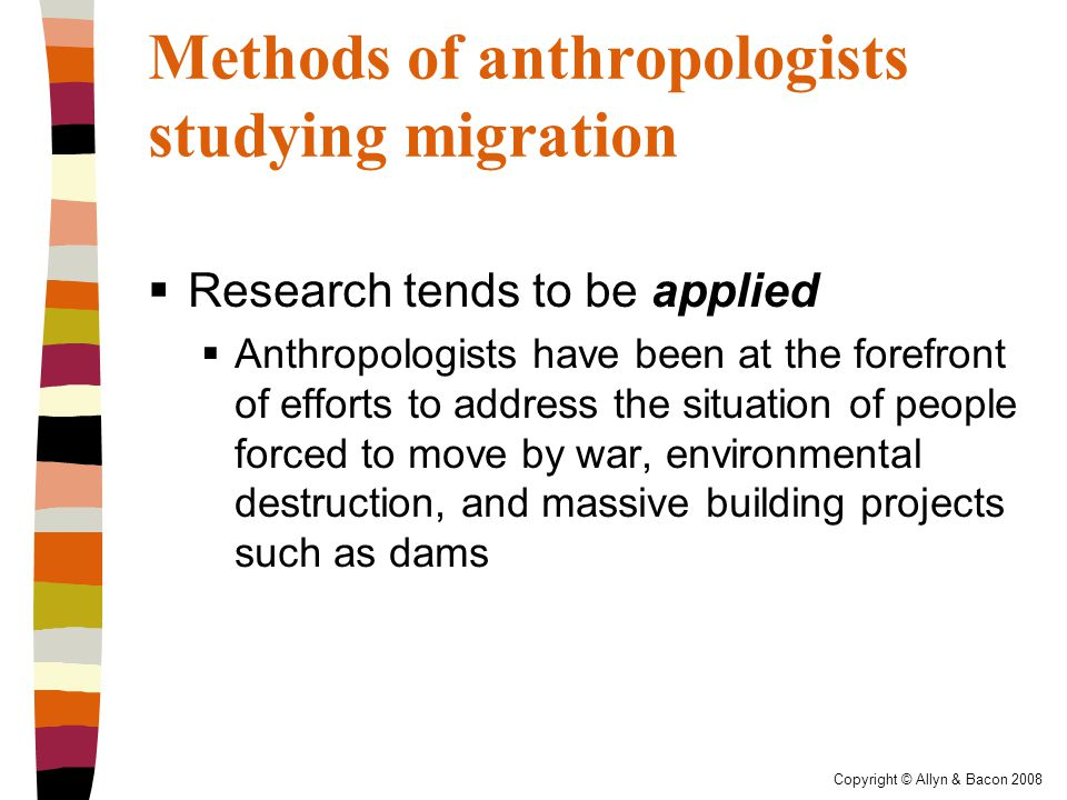 Copyright © Allyn & Bacon 2008 Categories of Migration  Categories based on spatial boundaries  Internal migration – movement within state boundaries  International migration – moving to a different country  Transnational migration – movement in which a person regularly moves back and forth between two or more countries and forms a new cultural identity transcending a single geopolitical unit