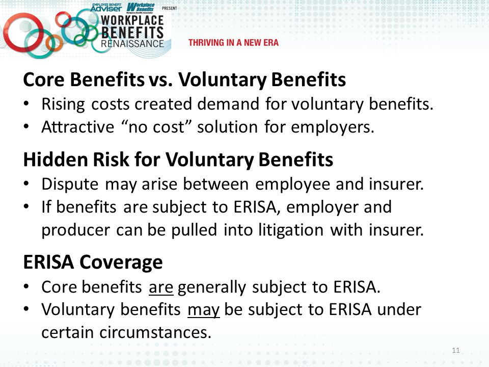 Core Benefits vs. Voluntary Benefits Rising costs created demand for voluntary benefits.