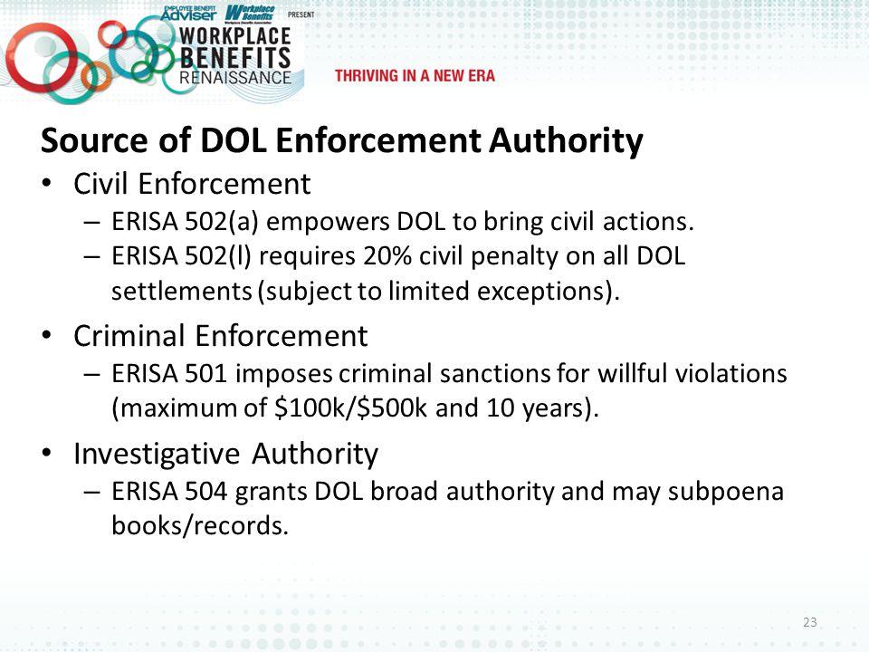 Source of DOL Enforcement Authority Civil Enforcement – ERISA 502(a) empowers DOL to bring civil actions.