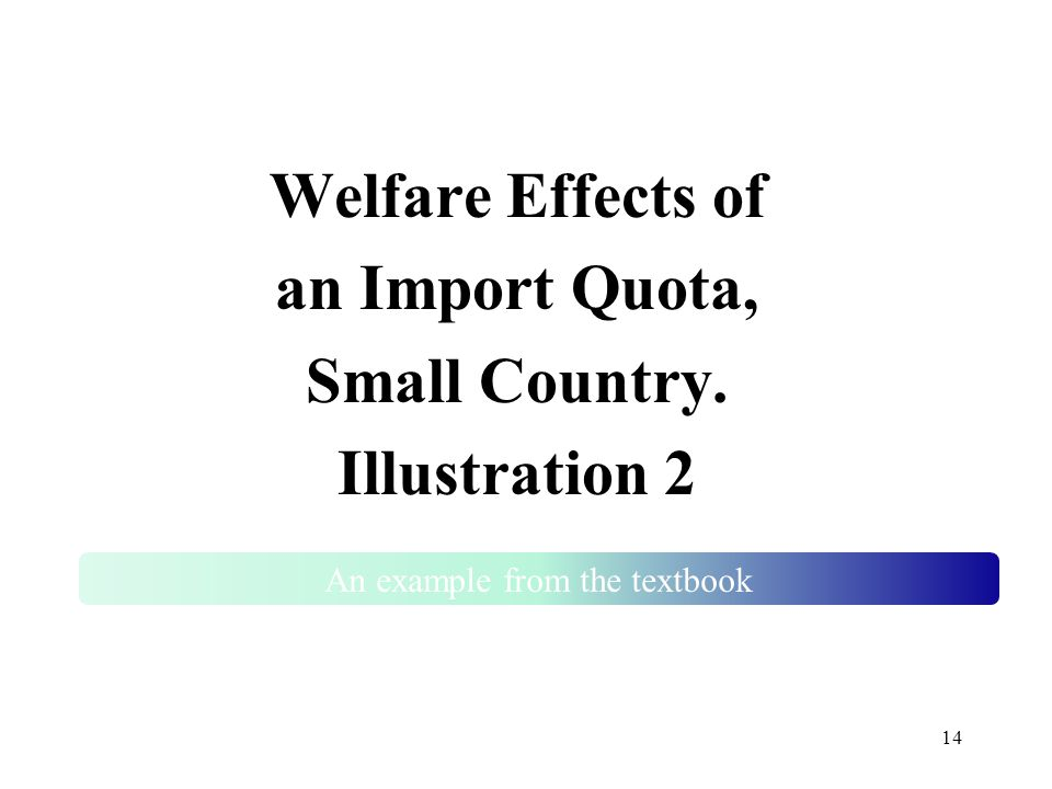 14 Welfare Effects of an Import Quota, Small Country. Illustration 2 An example from the textbook