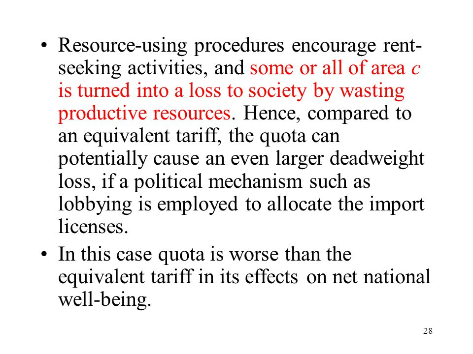 28 Resource-using procedures encourage rent- seeking activities, and some or all of area c is turned into a loss to society by wasting productive reso