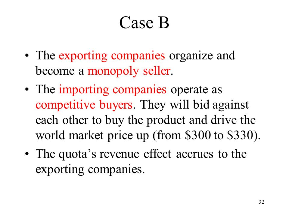 32 Case B The exporting companies organize and become a monopoly seller. The importing companies operate as competitive buyers. They will bid against