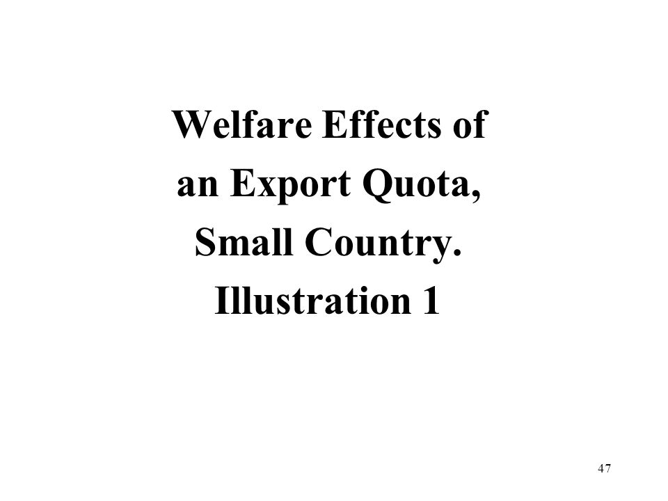 47 Welfare Effects of an Export Quota, Small Country. Illustration 1