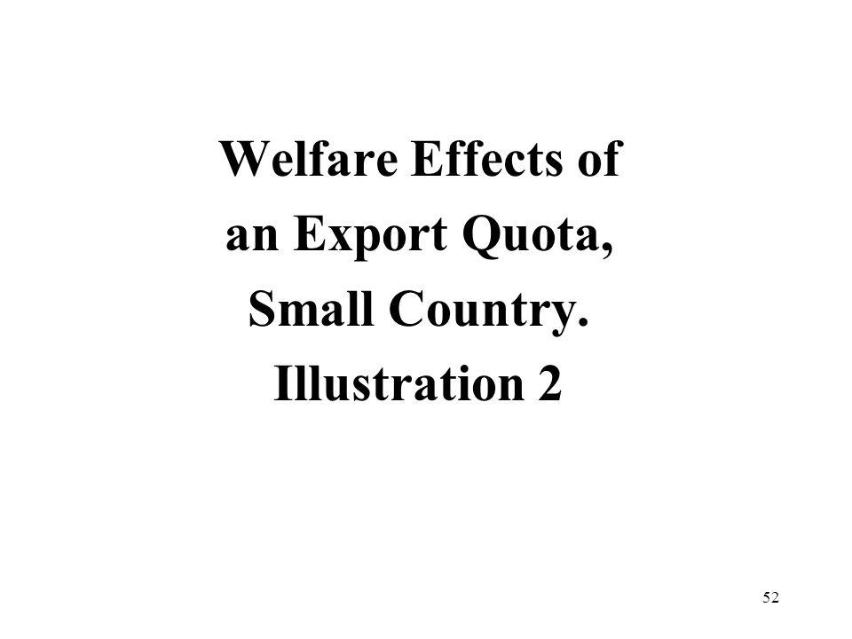 52 Welfare Effects of an Export Quota, Small Country. Illustration 2
