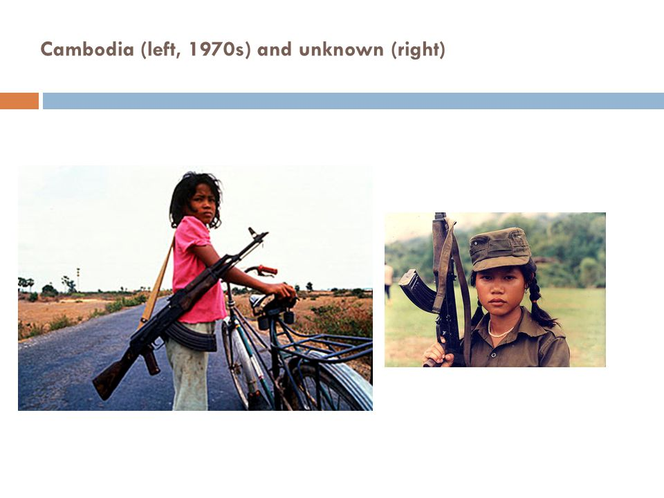 Cambodia (left, 1970s) and unknown (right)